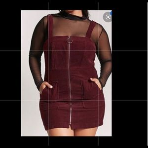 Plus Size Overall Dress (Maroon)